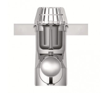 Выпускной элемент из пластика для приямка ACO Therm с корзиной для улавливания листьев, гидрозатвором и клапаном от обратного подпора