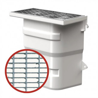 Вентиляционная шахта из пластика (40х40х20) без дна с монтажным комплектом и ячеистой решеткой 30/10 из оцинкованной стали