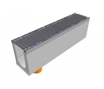 Лоток водоотводный бетонный DRENLINE Super DN150 h275 с решеткой чугунной ВЧ (комплект) кл. Е600 с вертикальным водосливом