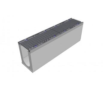Лоток водоотводный бетонный DRENLINE Super DN150 h310  с решеткой чугунной ВЧ (комплект) кл. Е600