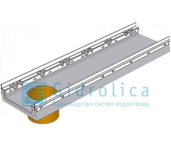Лоток водоотводный бетонный коробчатый (СО-200мм), с оцинкованной насадкой, с водосливом КПв 100.26,3 (20).10(6,5) - BGF-Z