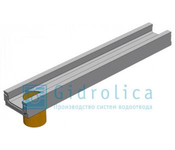 Лоток водоотводный бетонный коробчатый (СО-200мм), с водосливом КПв 100.26 (20).10(6,5)-BGF