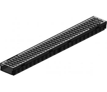 Комплект Gidrolica Light: лоток водоотводный ЛВ-10.11,5.5,5 - пластиковый с решеткой РВ-10.10,8.100 стальной оцинкованной, кл. А15 арт.08096