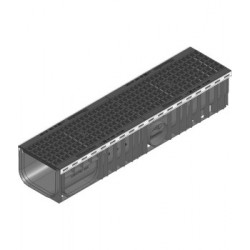 Каналы RECYFIX PLUS 200 из полиэтилена высокой плотности PE-PP с чугунной решеткой