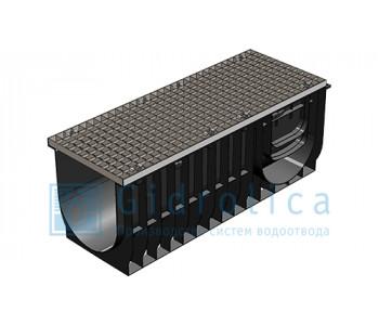 Комплект Gidrolica Light: лоток водоотводный ЛВ-30.38.39,6 пластиковый c решеткой РВ-30.37.100 ячеистой стальной оцинкованной арт.0830A