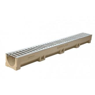 Полимербетонный дренажный канал со стальной решеткой в сборе арт.ВЛР.90.10