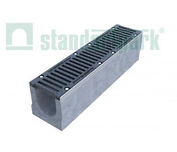 Лоток водоотводный BetoMax ЛВ-16.25.26-Б бетонный с решеткой щелевой чугунной ВЧ кл. Е (комплект) 04350 арт.4350