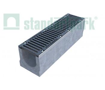 Лоток водоотводный BetoMax ЛВ-20.29.33-Б-У01 бетонный с уклоном с решеткой щелевой чугунной ВЧ кл.Е (комплект) 04500/3 арт.04500/3