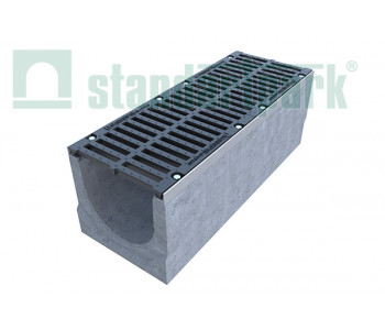 Лоток водоотводный BetoMax ЛВ-30.38.41-Б-У01 бетонный с уклоном с решеткой щелевой чугунной ВЧ кл.Е (комплект) 04700/2 арт.04700/2