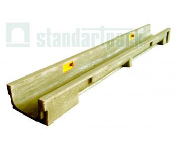 Лоток водоотводный CompoMax Basic ЛВ-10.14.13-ПВ полимербетонный усиленный с вертикальным водоотводом 70400907 арт.70400907
