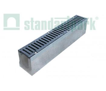 Лоток водоотводный BetoMax ЛВ-11.19.13-Б бетонный с решеткой щелевой чугунной ВЧ кл. Е (комплект) 04140 арт.4140