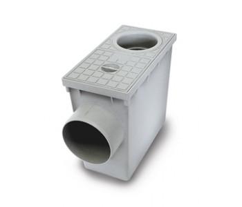 Водоприемник кровельный с горизонтальным выходом серый и круглым входом 80мм и 100мм арт.5494