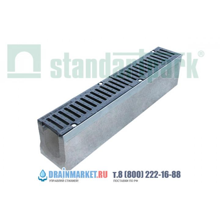 Лоток водоотводный BetoMax ЛВ-11.19.23-Б бетонный с решеткой щелевой чугунной ВЧ кл.Е (комплект) 04100 арт.4100