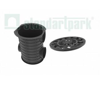 Комплект: Дождесборник S'park ДС-25-ПП круглый пластиковый с решеткой водоприемной платиковой кл. А арт.83720