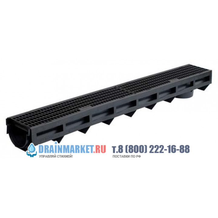 Ливневый канал с пластиковой решеткой арт.1092
