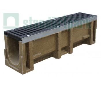 Лоток водоотводный CompoMax ЛВ-16.25.31-П полимербетонный с вертикальным водоотводом с решеткой щелевой чугунной ВЧ кл.F (комплект) 730109 арт.730109