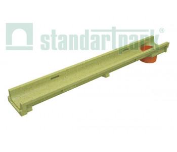Лоток водоотводный CompoMax Basic ЛВ-10.14.06-ПВ полимербетонный с вертикальным водоотводом 701009 арт.701009