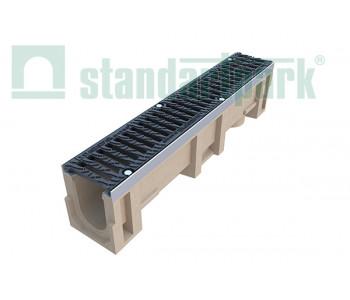 Лоток водоотводный CompoMax ЛВ-11.19.23-ПВ полимербетонный с вертикальным водоотводом с решеткой щелевой чугунной ВЧ протектор кл.D (комплект) 0710209 арт.710209