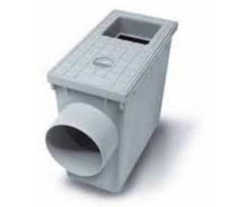 Водоприемник кровельный с горизонтальным выходом серый и квадратным входом 80мм и 100мм арт.5495