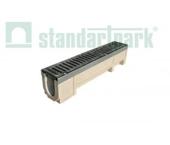 Лоток водоотводной CompoMax ЛВ-11.19.23-ПВ полимербетонный с вертикальным водоотводом с решеткой ячеистой чугунной ВЧ кл.D (комплект) 0710409 арт.710409