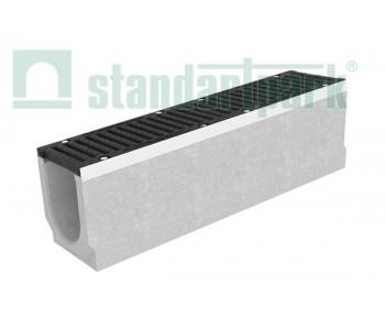 Лоток водоотводный BetoMax ЛВ-20.29.33-БВ-У01 бетонный с вертикальным водоотводом с уклоном с решеткой щелевой чугунной ВЧ кл.Е (комплект) 0450009/1 арт.0450009/1