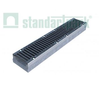 Лоток водоотводный BetoMax Drive ЛВ-15.21.26-Б бетонный с решеткой щелевой чугунной ВЧ кл.D (комплект) 042071334 арт.42071334