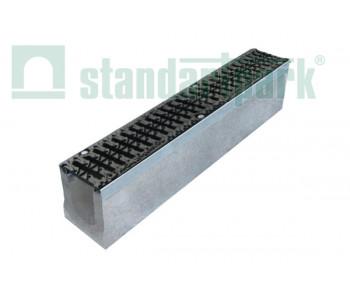 Лоток водоотводный BetoMax ЛВ-11.19.13-Б бетонный с решеткой щелевой чугунной ВЧ протектор кл. D (комплект) Д2 арт.4142