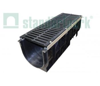 Лоток водоотводный PolyMax ЛВ-30.39.38-ПП пластиковый с решеткой щелевой чугунной ВЧ кл. Е (комплект) 08700 арт.8700