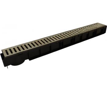 Ливневый пластиковый канал H95 с ливневой решеткой стальной арт.8806