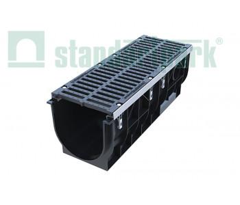 Лоток водоотводный PolyMax ЛВ-30.39.38-ПП пластиковый с решеткой щелевой чугунной ВЧ кл. D (комплект) 08702 арт.8702