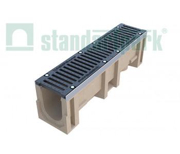 Лоток водоотводный CompoMax ЛВ-16.25.31-ПВ полимербетонный с вертикальным водоотводом с решеткой щелевой чугунной ВЧ кл.Е (комплект) 0730009 арт.730009