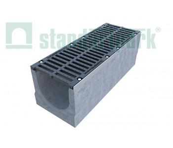 Лоток водоотводный BetoMax ЛВ-30.38.41-Б-У01 бетонный с уклоном с решеткой щелевой чугунной ВЧ кл.Е (комплект) 04700/4 арт.04700/4