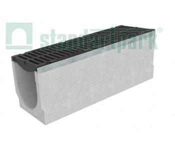 Лоток водоотводный BetoMax ЛВ-30.38.61-Б бетонный с решеткой щелевой чугунной ВЧ кл. D (комплект) 04762/10-10 арт.04762/10-10