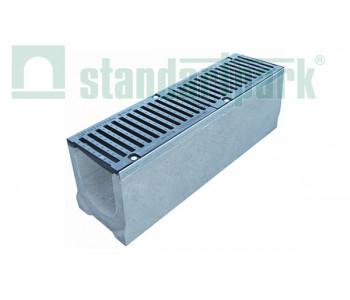 Лоток водоотводный BetoMax ЛВ-16.25.31-Б-У01 бетонный с вертикальным водоотводом с уклоном с решеткой щелевой чугунной ВЧ кл.Е (комплект) 0430009 арт.430009