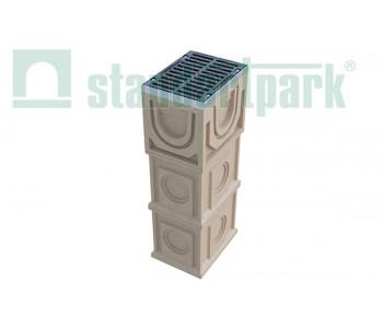 Дождеприемный колодец секционный CompoMax ДК-30.38.44-П-В полимербетонный с решеткой щелевой чугунной ВЧ кл. E (верхняя часть, комплект) 07770/1 арт.07770/1